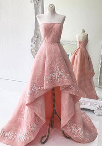 Pink Strapless High Low Evening Dresses Sleeveless Lace Prom Dresses - EVERISA
