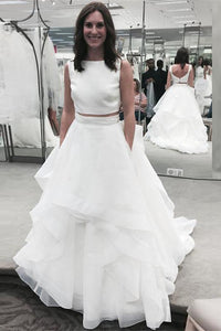 Unique White Two-Pieces A-line Sleeveless Tulle Bridal Gown Wedding Dress With Ruffles