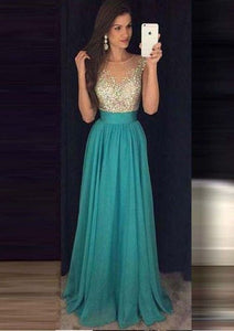 Noble Ice Blue Scoop Neck Empire Chiffon Prom Dress Evening Dress With Rhinestone