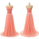 Coral Red Sleeveless Long Prom Dresses Cheap Bridesmaid Dresses With Lace Applique