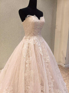 Charming Pink A-Line Sweetheart Sleeveless Lace Wedding Dresses Bridal Gowns