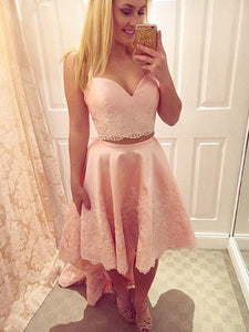 Pink Straps Two Piece High Low Prom Dresses A Line Evening Dresses With Lace Appliques - EVERISA