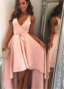 Pink V Neck Sleeveless High Low Prom Dresses Cheap Evening Dresses With Sash - EVERISA