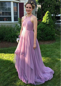 Elegant Sleeveless A Line Prom Dresses Long Bridesmaid Dress With Pleats - EVERISA