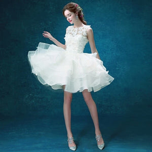 Scoop Neck Sleeveless A Line Bridal Gown Short Wedding Dresses