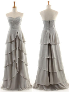 Grey Sweetheart Tiered A Line Bridesmaid Dresses Affordable Prom Dresses - EVERISA