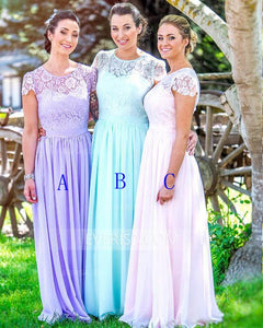 Elegant Tiffany Blue Scoop Neck Floor-Length Chiffon Evening Dresses Bridesmaid Dresses