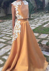 Two Piece Cap Sleeves A Line Prom Dresses Long Evening Dresses With Lace Appliques