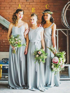 Simple Sleeveless A Line Bridesmaid Dresses Affordable Prom Dresses With Ruffles - EVERISA