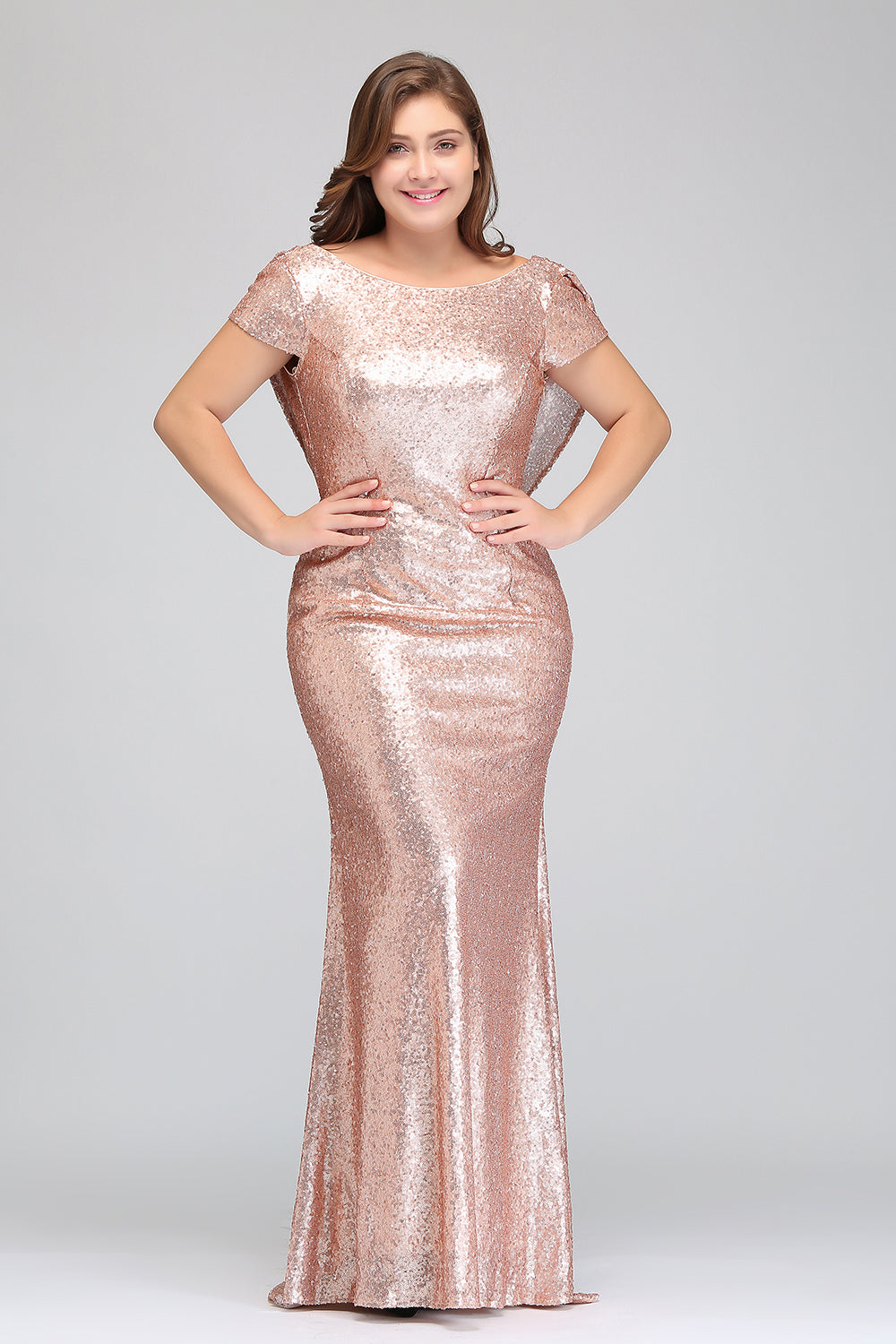 08dcc26274dc9 Rose Gold Short Sleeves Plus Size Bridesmaid Dresses