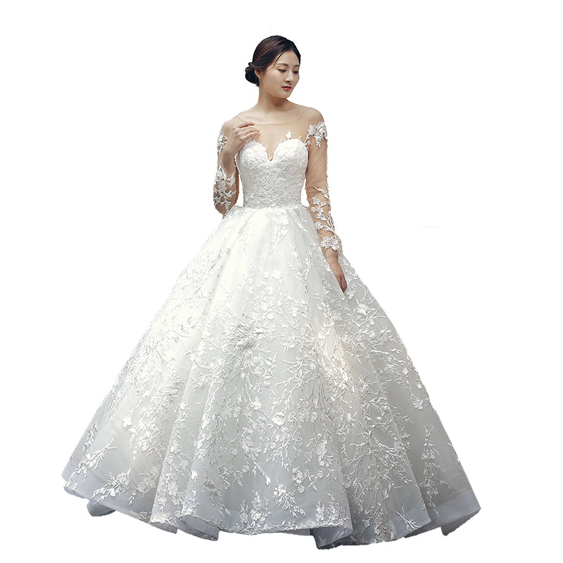 White Long Sleeves Empire A Line Bridal Gown Cheap Wedding Dresses