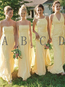 Yellow Sleeveless A Line Long Bridesmaid Dresses Chiffon Prom Dresses With Ruffles - EVERISA