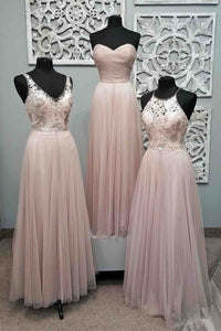 Elegant Light Pink Sweetheart Floor-Length Tulle Bridesmaid Dress Cheap Prom Dresses - EVERISA