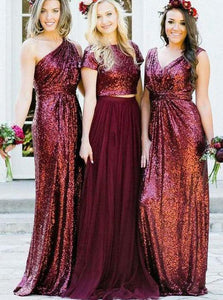 2018 Dark Red V-Neck Floor-Length Sequin Affordable Bridesmaid Dress Cheap Prom Dresses - EVERISA