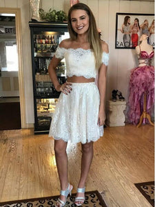White Off Shoulder Two Piece Lace Prom Dresses Short Homecoming Dresses - EVERISA
