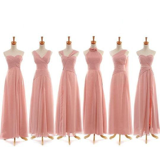 Different Style Pink Chiffon A Line Bridesmaid