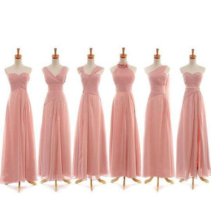 Different Style Pink Chiffon A Line Bridesmaid Dresses Long Prom Dresses