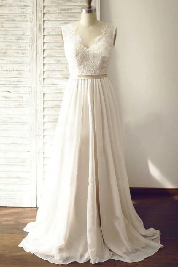 d76e978d989a Simple White V-Neck Sleeveless Empire Chiffon Wedding Dresses Bridal Gown  With Lace - EVERISA