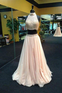 Elegant Blush Pink Two Piece Halter Tulle Prom Dress Long Beaded Evening Dress - EVERISA