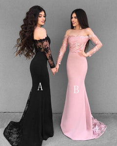 Long Sleeves Off Shoulder Mermaid Prom Dresses Affordable Evening Dresses