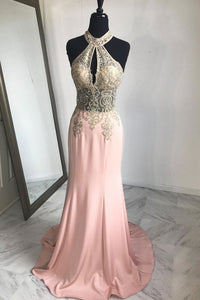 Pink Halter Sleeveless Mermaid Evening Dresses Long Prom Dresses With Lace