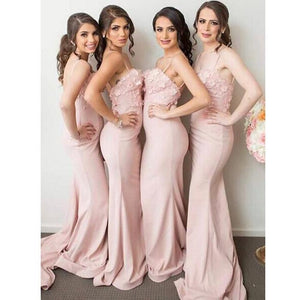 Blush Pink Straps Sleeveless Slim Line Long Bridesmaid Dresses Cheap Evening Dresses