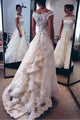 New White A-Line Off Shoulder Tiered Lace Wedding Dress Bridal Gown