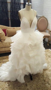 Sexy White Sleeveless Backless Wedding Dresses Long Bridal Gown - EVERISA