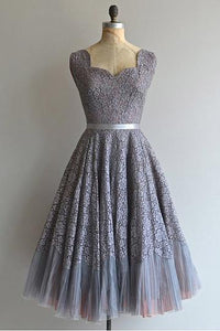 Grey Sweetheart Lace A Line Prom Dresses Inexpensive Bridesmaid Dresses - EVERISA