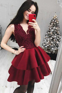 Elegant Burgundy V-Neck Sleeveless Tiered Satin Prom Dress Mini Dress With Lace