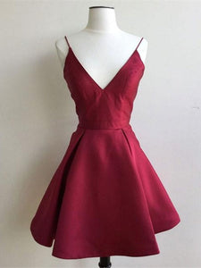 Burgundy V Neck Short Homecoming Dresses Sleeveless A Line Cocktail Dresses