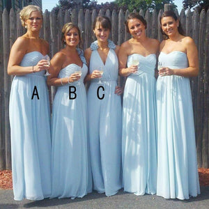 Different Style Blue Chiffon Bridesmaid Dresses A Line Long Prom Dresses