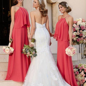 Unique Coral Red Halter Floor-Length Chiffon Prom Dresses Affordable Bridesmaid Dress