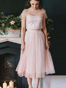 Pink Two Piece Short Sleeves A Line Prom Dresses Short Evening Dresses With Pearls - EVERISA