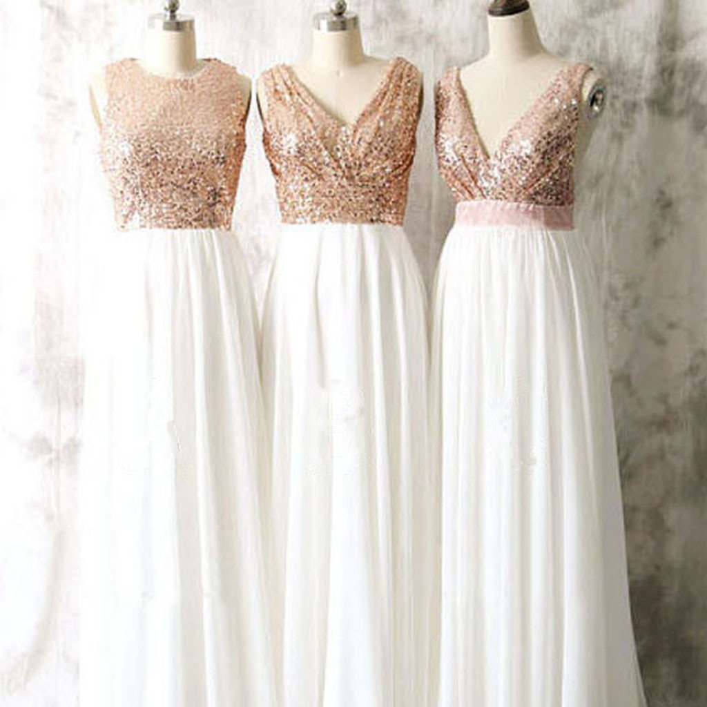 fb8379ca3f Mismatched Different Styles Rose Gold Sleeveless Sequin Bridesmaid Dress  White Chiffon Prom Dress