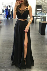 Black Sleeveless Side Slit Prom Dresses Two Pieces Long Evening Dresses - EVERISA