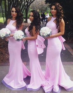 Sexy Pink Sleeveless Backless Mermaid Prom Dresses Long Bridesmaid Dresses - EVERISA