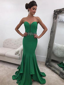 Green Sweetheart Sleeveless Satin Bridesmaid Dresses Mermaid Prom Dresses - EVERISA