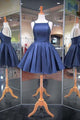 Unique Navy Blue A-Line Open Back Spaghetti Straps Satin Prom Dress Mini Dresses
