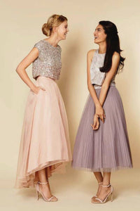 Charming Pink Two Pieces Sequin Top Tulle Long Bridesmaid Dress Prom Dress - EVERISA