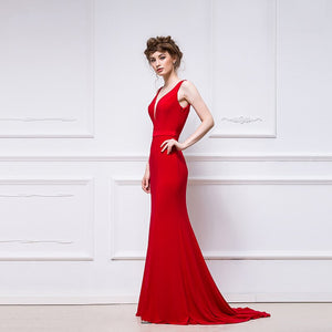 Sexy Red Deep V Neck Backless Long Prom Dresses Mermaid Evening Dresses - EVERISA