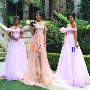 Fashion Off Shoulder A Line Prom Dresses Sweetheart Long Evening Dresses - EVERISA