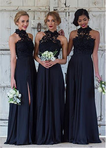High Neck Sleeveless Side Slit Bridesmaid Dresses Affordable Prom Dresses - EVERISA