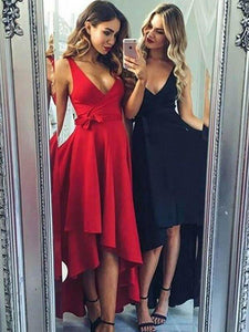 Red/Black V Neck Sleeveless High Low Homecoming Dresses Cheap Prom Dresses
