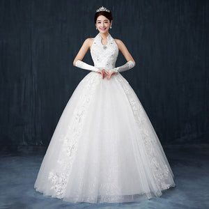 White Halter Sleeveless A Line Wedding Dresses Long Bridal Gown With Beaded