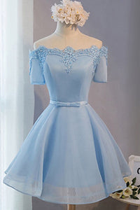 Blue Off Shoulder Short Sleeves Homecoming Dresses A Line Cocktail Dresses