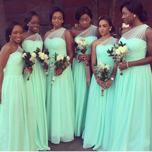 Simple Mint Green One Shoulder Sleeveless Chiffon Bridesmaid Dress Long Prom Dress - EVERISA