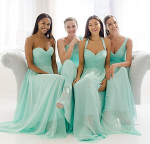 Different Styles Tiffany Blue Sleeveless Chiffon Prom Dresses Long Evening Dresses - EVERISA
