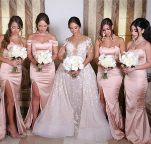 Sexy Pink Side Slit Sweetheart Satin Prom Dress Long Bridesmaid Dresses - EVERISA