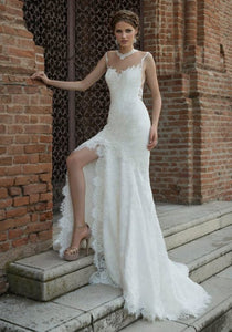 Sweetheart Sleeveless Mermaid Wedding Dresses Side Slit Bridal Gown